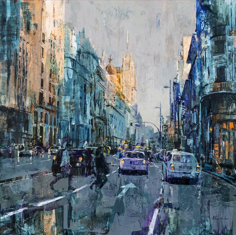 Alfonso Cuñado《華燈初上(馬德里)》Oil on panel 100x100cm