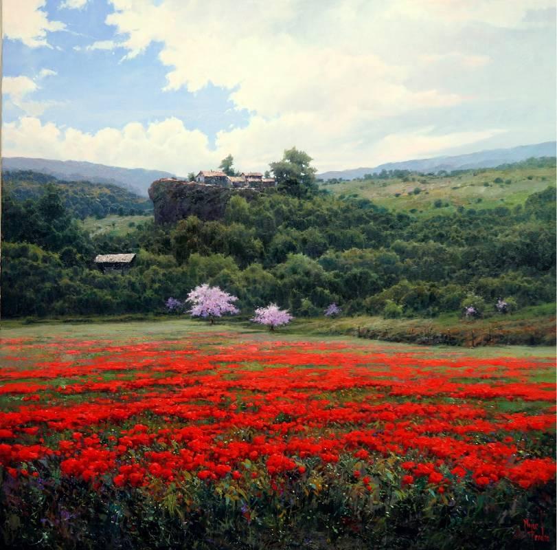 Miguel Peidro《綠蔭紅花》Oil on canvas 100x100cm