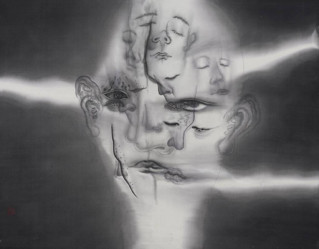 劉信義 Liu Hsin Yi / 人性三觀 Human Values , 92×72 cm , 水墨絹本Ink on silk , 2021