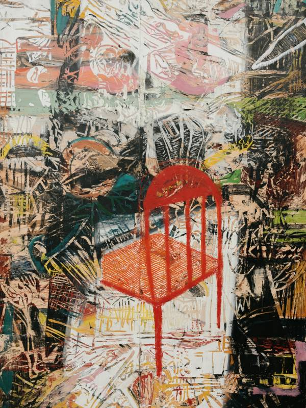 ANGEL OTERO《Red Silence》213.4 x 152.4 x 3.8 cm,oil paint and fabric collaged on canvas,2021