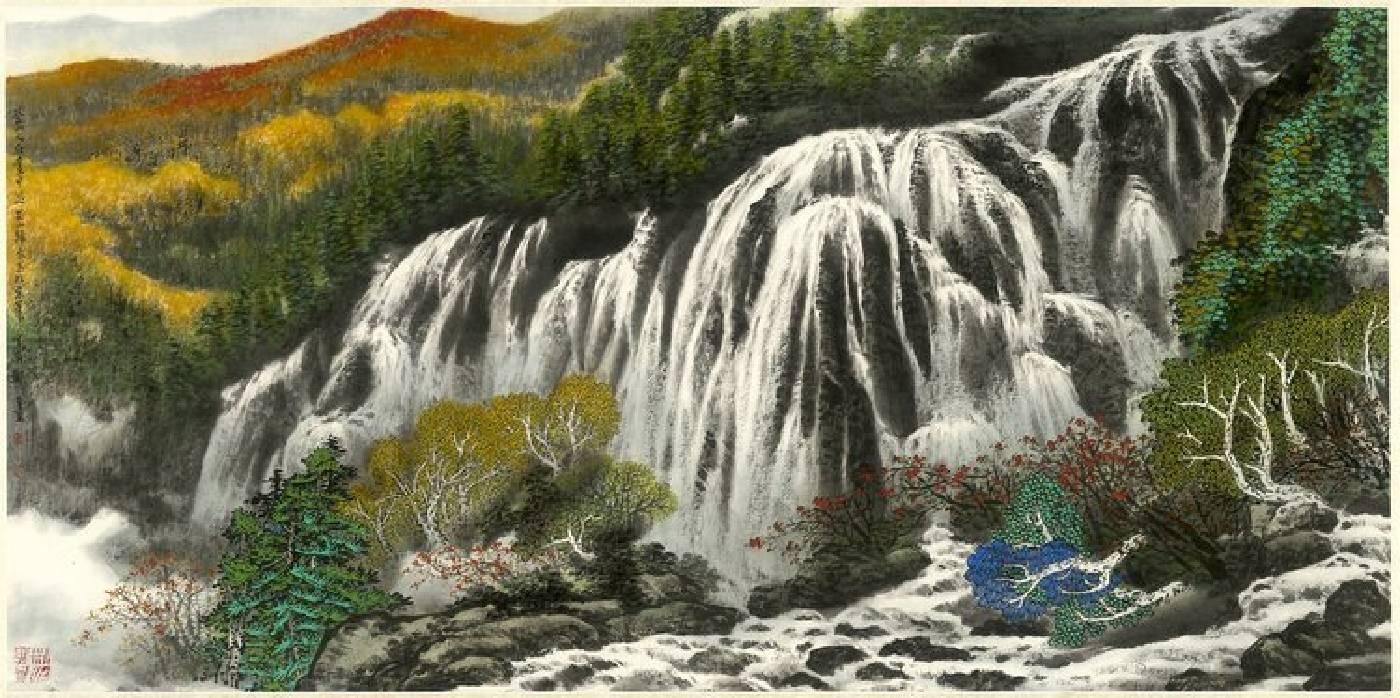 登山人在畫中游 68x136cm 設色紙本