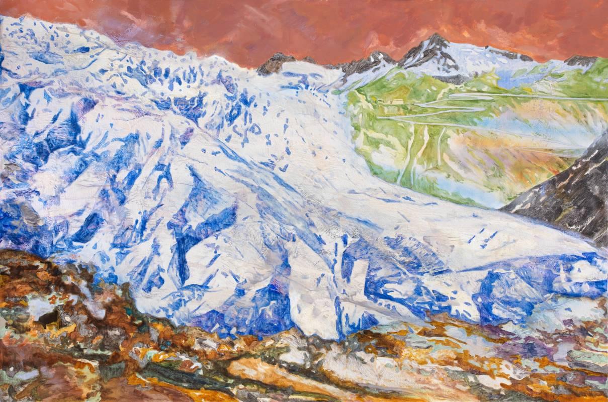 許聖泓 SHIU Sheng-Hung,隆河冰河 Glacier#12,2020-21,壓克力顏料、油彩、合成色粉、天然色粉(青金石、綠土、赭石)、畫布 ,45 x 65 cm