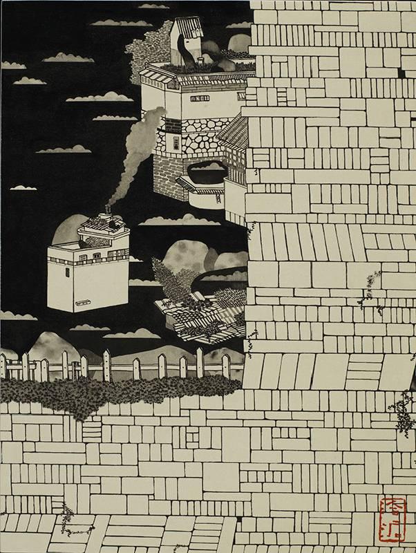 藝術家:邱奕寧  標題:迷失在雲端的用戶們 V 尺寸:28 * 21.5 cm 材質:紙本水墨設色  年代:2021