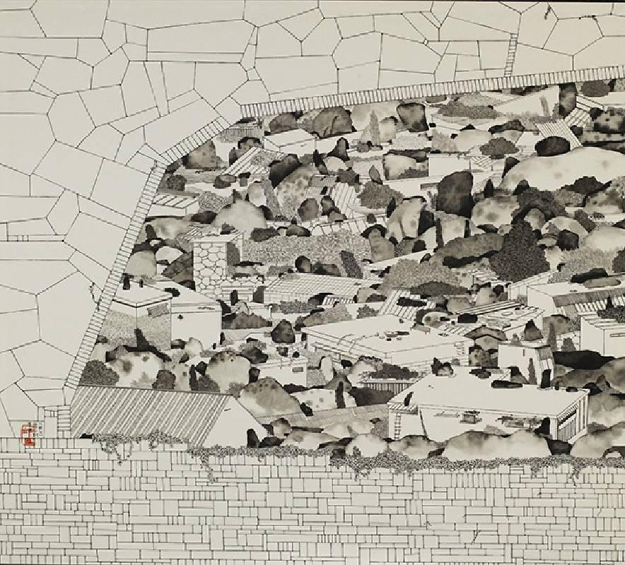藝術家:邱奕寧  標題:寂寞城市 Xll 尺寸:52 * 58 cm  材質:紙本水墨設色  年代:2021