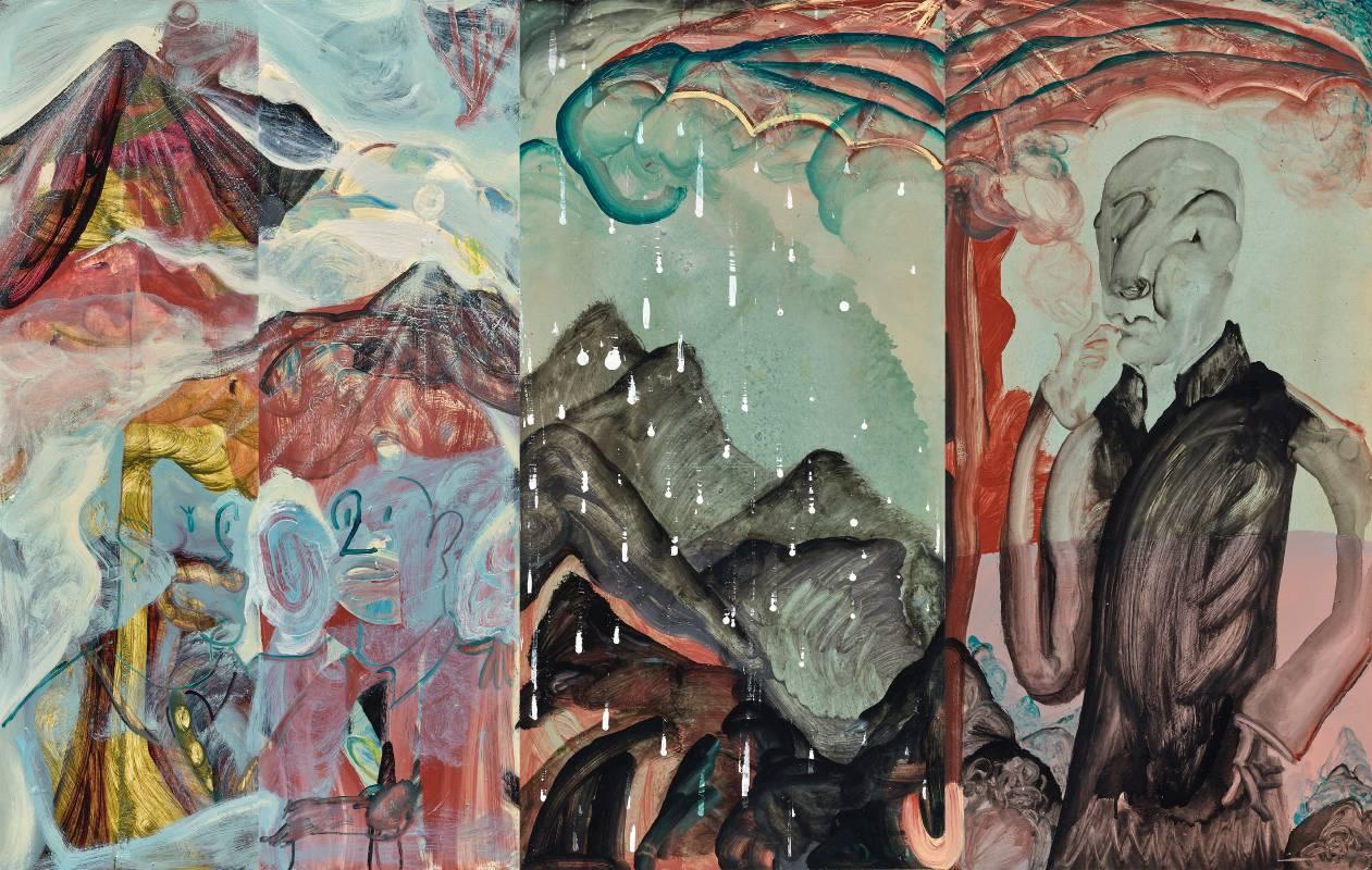 《晴雨山男子們》 Men in Mountain on Sunny/Rainy Days  2020 油彩、纖維板 Oil on masonite 122 x 193.4 cm