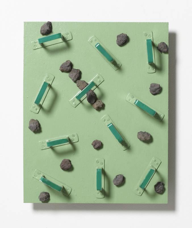 菅木志雄 Suga Kishio, 不可入 , 2011, 木、石、鐵、壓克力 wood, stone, iron, acrylic, 45 x 36 x 7.5 cm © Kishio Suga, Courtesy of Tomio Koyama Gallery