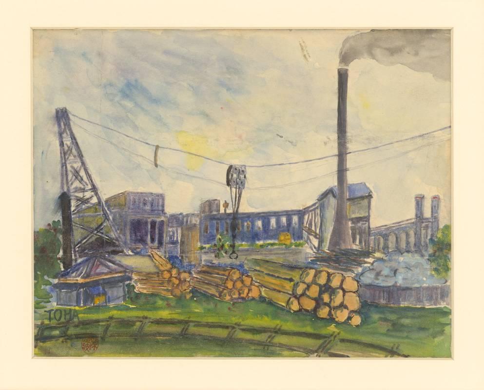 陳澄波《木材工廠》1921年