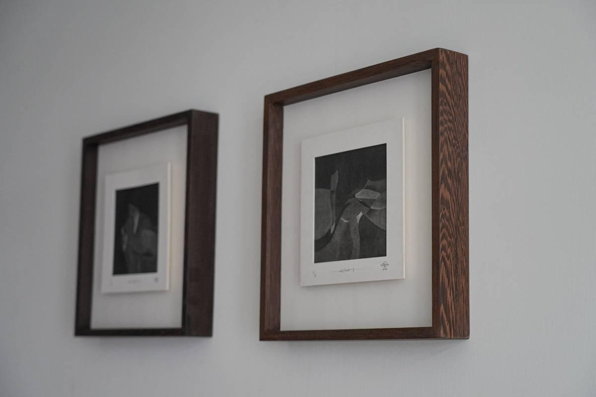 美柔汀銅版畫-鐵刀木手工框