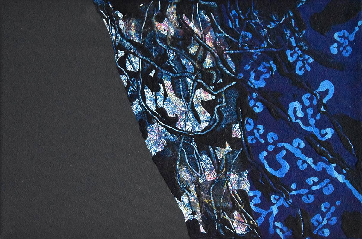 《藍色月光》,30×20 cm,壓克力、油性畫筆、畫布 ,2021