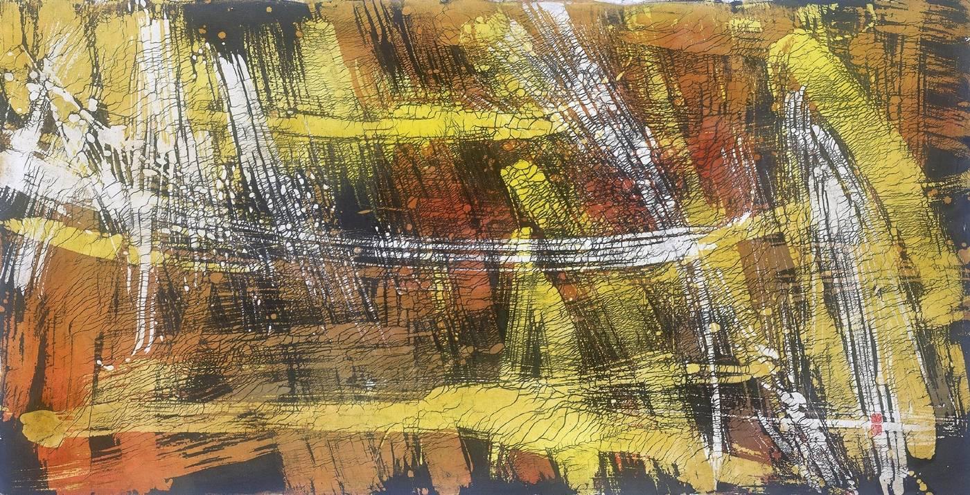 Ko-Chuan HUANG 黃歌川_Blazing 熾熱_Wax and dye on fabrics 蠟.染料.布_68x132cm_1975