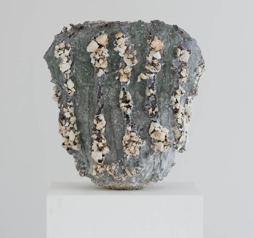 【熔ける器 Melitng vessel】 45*34.5*47 cm 釉薬/銅/ガラス/コーティング剤 /カオリン Glaze, Copper, Glass, Kiln wash, Kaolin 2021
