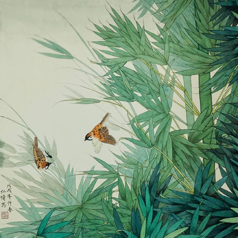 藝 術 家 陳 仁 倩 的 工 筆 水 墨 花 鳥 作 品