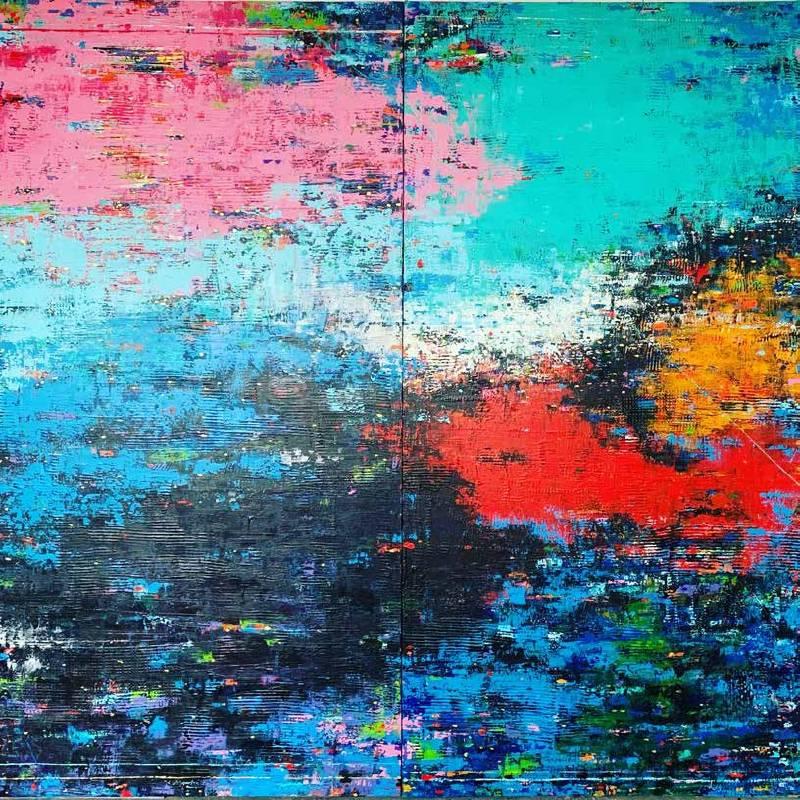 賴新龍《 望湖樓下水如天 》 217×206CM Acrylic on canvas 2021