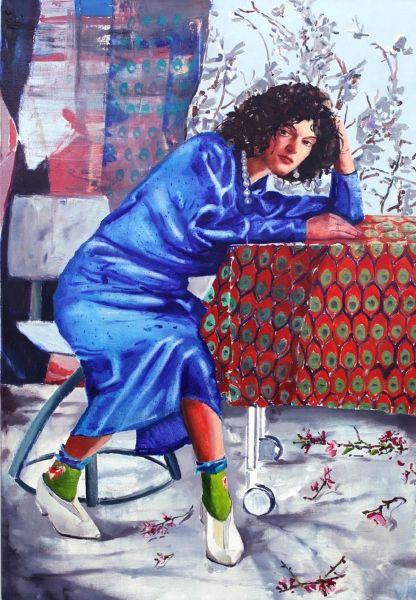 馬里斯.貝塞亞-穿藍洋裝的女孩