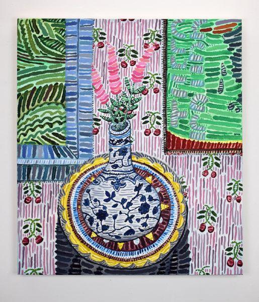 霍華德・豐達 -無題 (六角形裝飾桌案上的柳蘭與15世紀明代瓷器、Walter Price 的作品 Merge Sort (2017) 、1750-60年代的 Brunschwig and Fils 櫻桃壁紙)