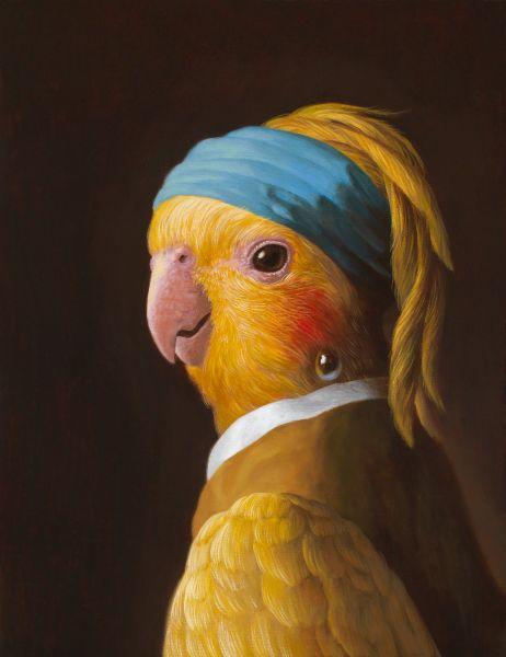 詹喻帆-融古入今系列-戴著珍珠耳環的鸚鵡少女
