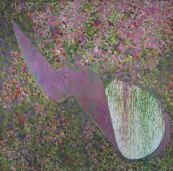 毛旭輝-紫色半把剪刀與三葉花