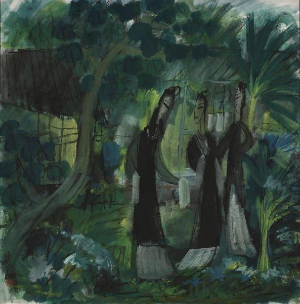 林風眠-庭院 Garden