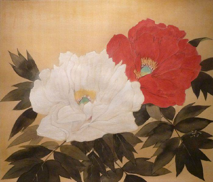 臼井治-紅白牡丹