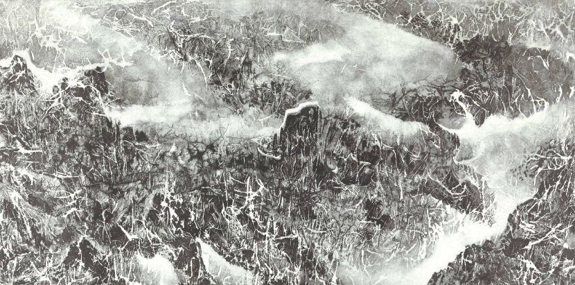 劉國松-雲樹銀枝