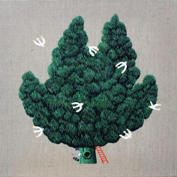 邊世喜-Tree with Red Ladder #2