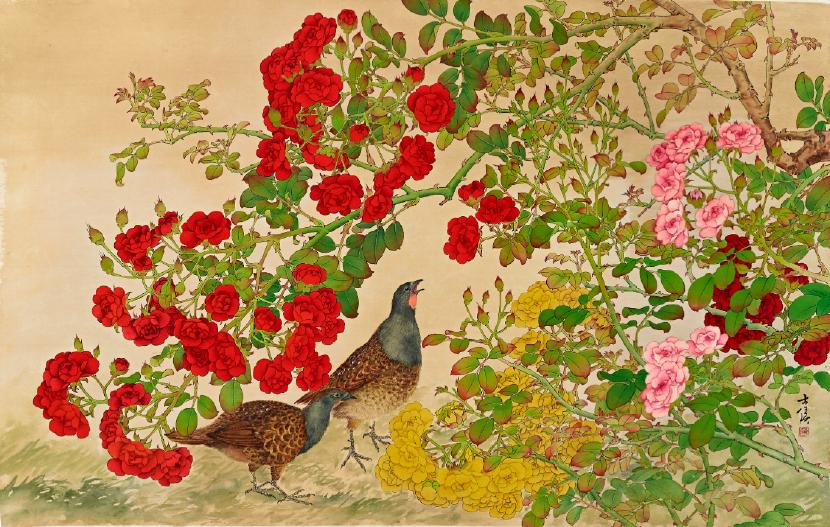 陳士侯-薔薇與竹雞