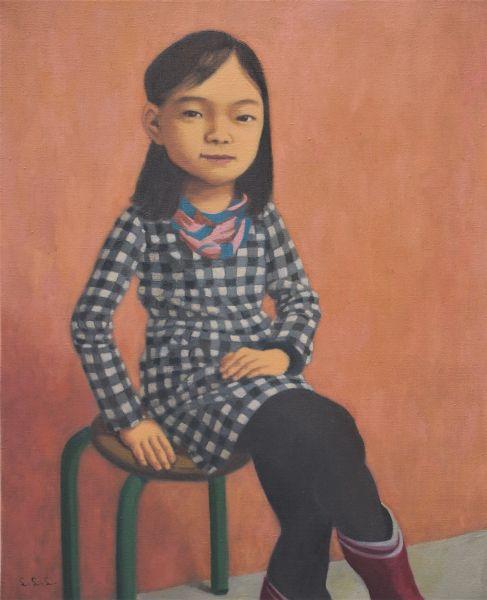 林麗玲-穿格子洋裝的小女孩
