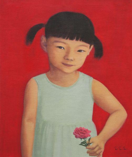 林麗玲-拿玫瑰花的小女孩