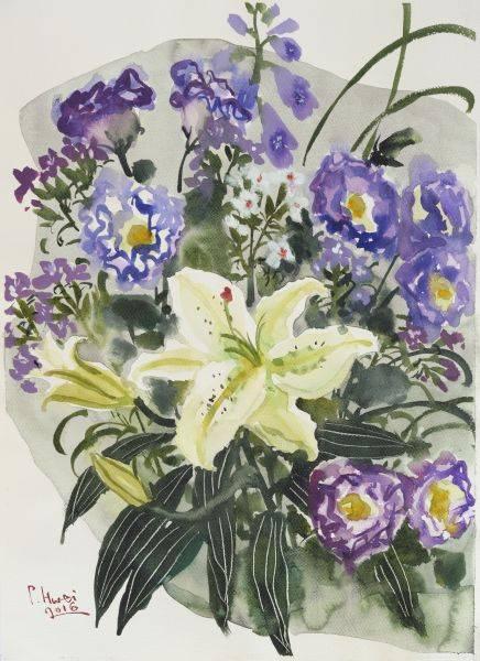 董小蕙-錦簇-紫梗百合