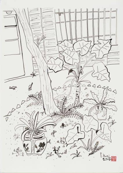 董小蕙-老院子素描II-花圃