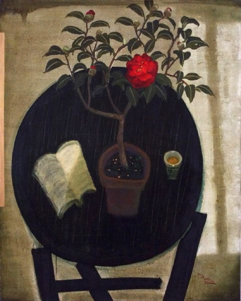 董小蕙-春讀-紅茶花  Spring Reading - Red Camellia