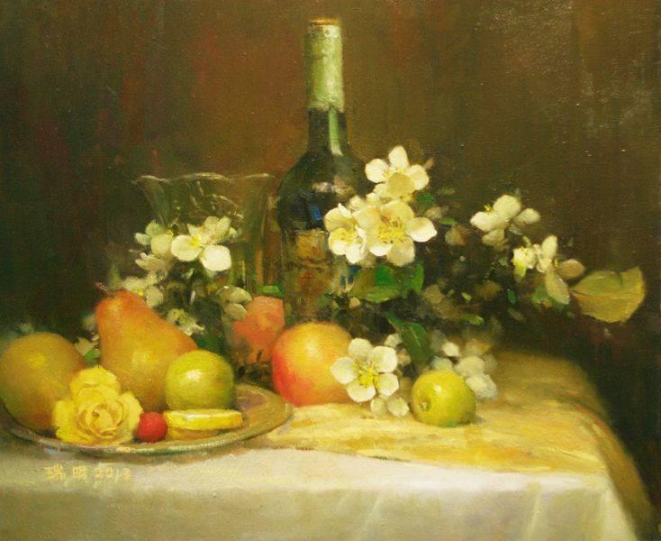 蘇瑞明-有蘋果花的靜物