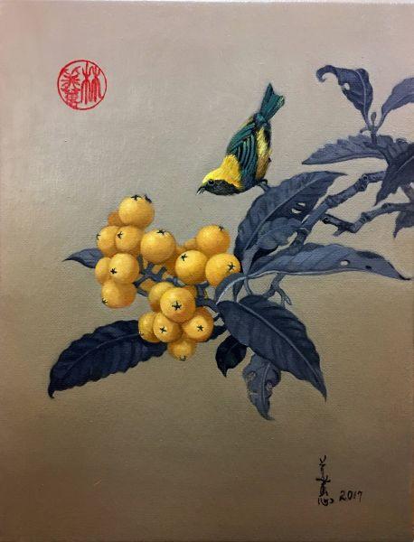 林美蕙-琵琶山鳥圖