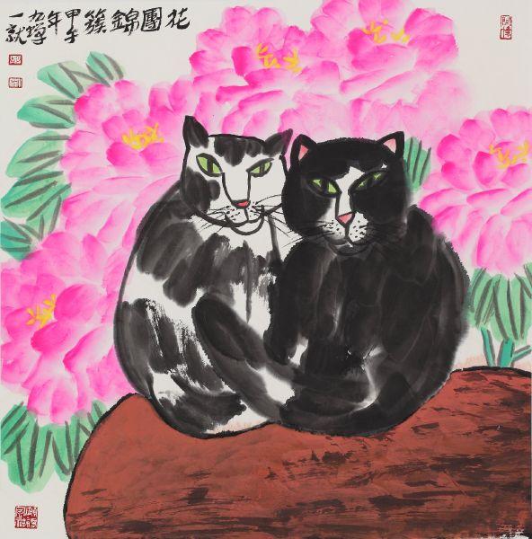 胡九蟬-花團錦簇圖