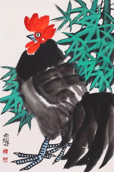 胡九蟬-紅冠高昇圖