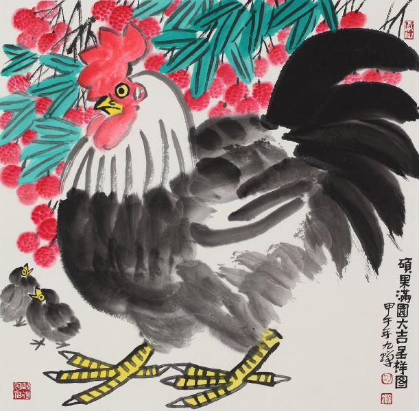 胡九蟬-碩果滿園大吉呈祥圖