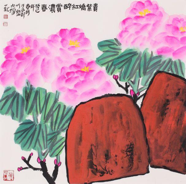 胡九蟬-貴紫濃春圖