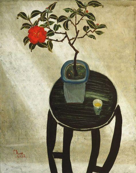 董小蕙-春日-紅茶花 91×72.5cm (30F) 2013