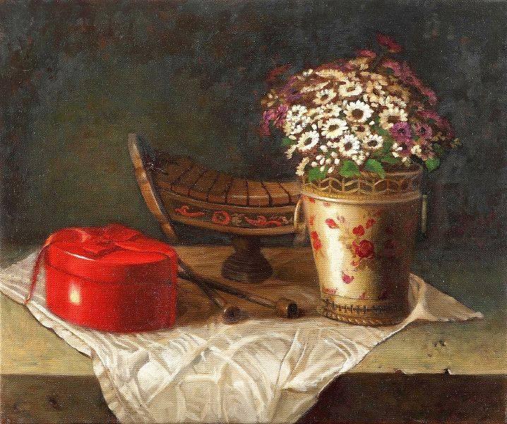 林美蕙-紅盒子與盆花