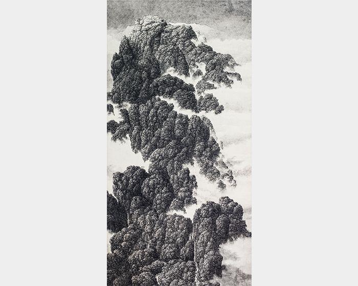 夏一夫-遠山初雪近巖巨瀑