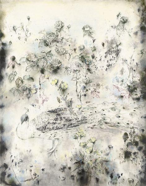 梁兆熙-花鳥 Peacock and Flowers
