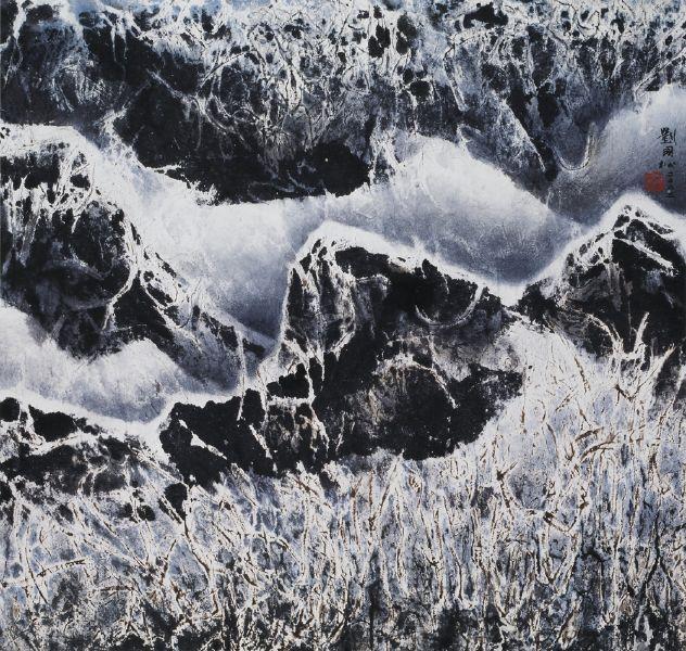 劉國松-雪染枝頭