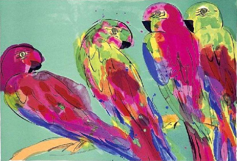 丁雄泉-四隻鸚鵡
