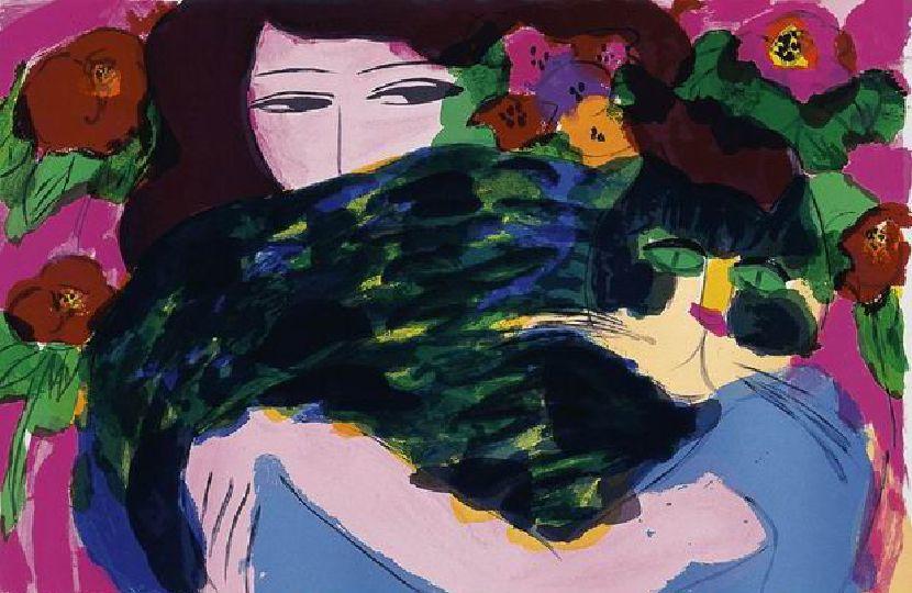 丁雄泉-女郎與綠色的貓