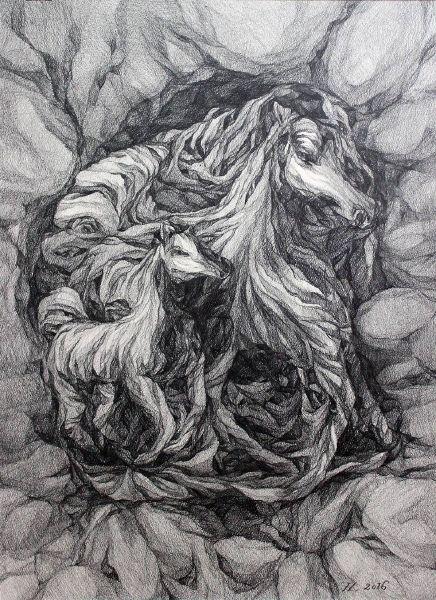 謝宗玲-畫石-似馬化石