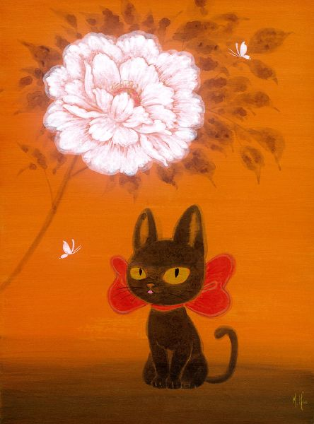徐鈺樺 -牡丹與小黑貓