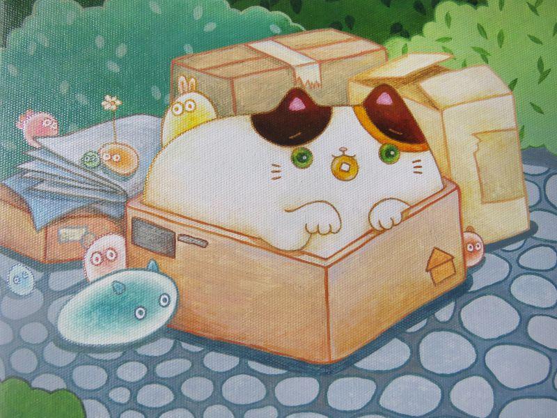 樓育雯-流浪招財貓之紙箱貓貓