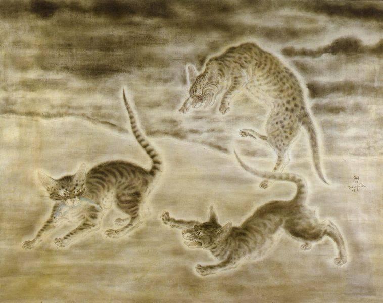 藤田嗣治-三隻貓