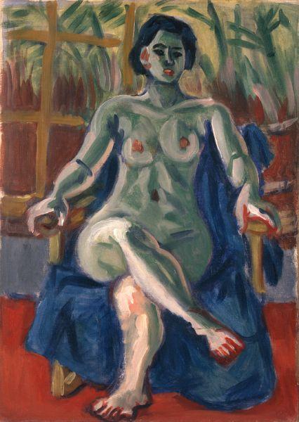 梅原龍三郎-Nude and Bamboo Window