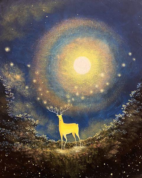 海至-彩虹滿月與光鹿